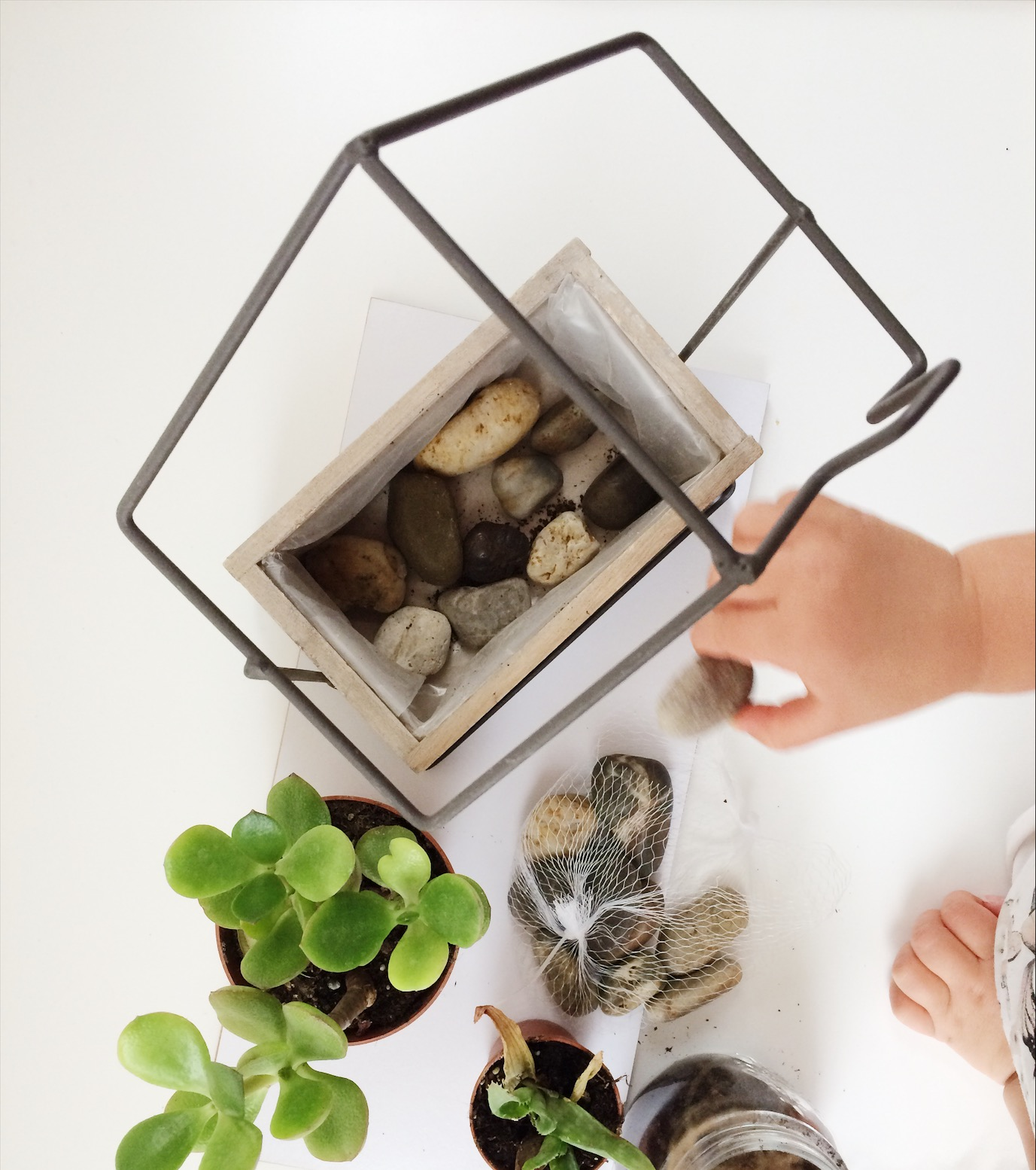 child putting small rocks into flower pot in the shape of a house