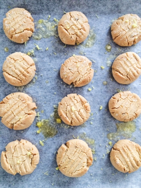 12 Gluten Free Lemon Lavender Cookies on a baking tray lined with parchment paper