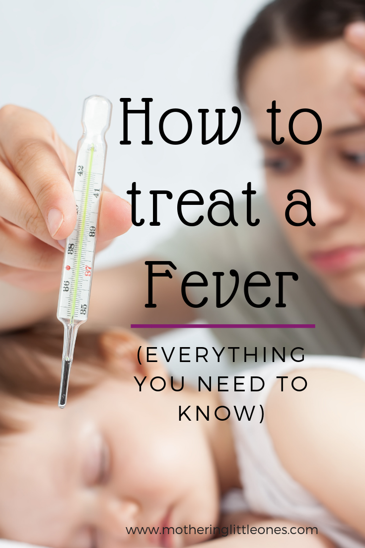 "Title ""How to treat a fever: Everything you need to know"" with a mother holding a thermometer over her baby looking worried in the background"